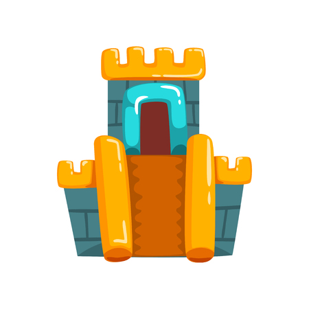 Inflatable castle with slide, summer amusement park bouncy equipment vector Illustrations on a white background Stock Vector - 102903572