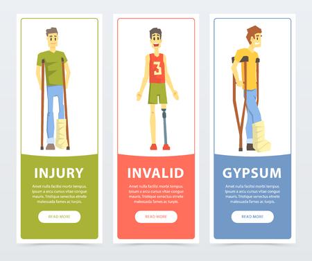 Gehandicapte banners set, letsel, ongeldig, gips platte vector ilustrations, element voor website of mobiele app