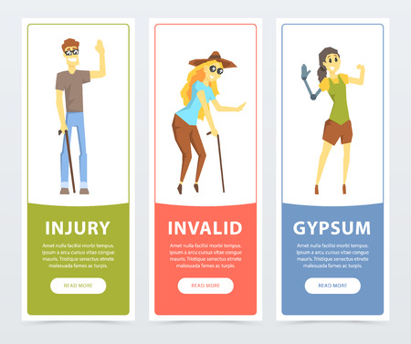 Disabled people banners set, blind woman, persons with prosthetic arms and legs, injury, invalid, gypsum flat vector ilustrations, element for website or mobile app