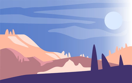 Beautiful natural landscape, scene of nature with mountains and sun in the morning vector Illustration