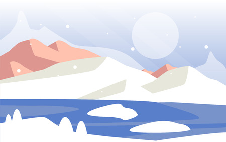 Beautiful winter natural landscape, scene of nature with snowy mountains and sun vector Illustration Ilustração