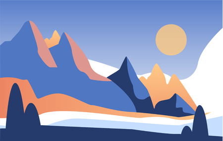 Beautiful natural landscape, scene of nature with mountains in the sunlight vector Illustration 일러스트