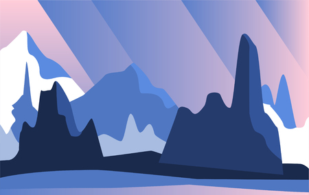 Beautiful natural landscape with mountains at night vector Illustration Illustration