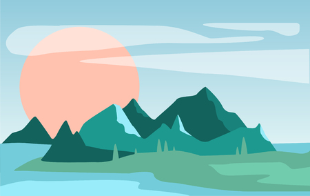 Beautiful summer natural landscape, scene of nature with mountains and sun vector Illustration
