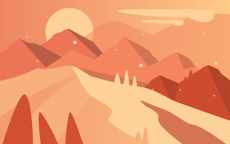 Beautiful natural landscape, scene of nature with mountains and sun in brown colors vector Illustration