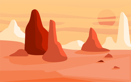 Beautiful natural desert landscape, scene of nature with mountains vector Illustration