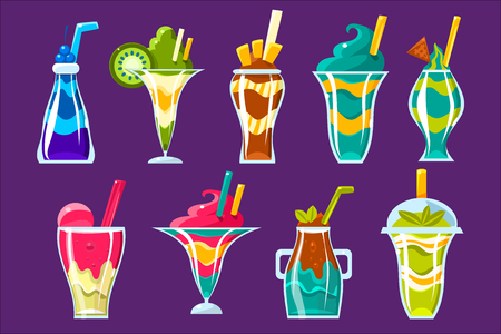 Smoothies And Sweet Multilayered Cocktails Collection Иллюстрация