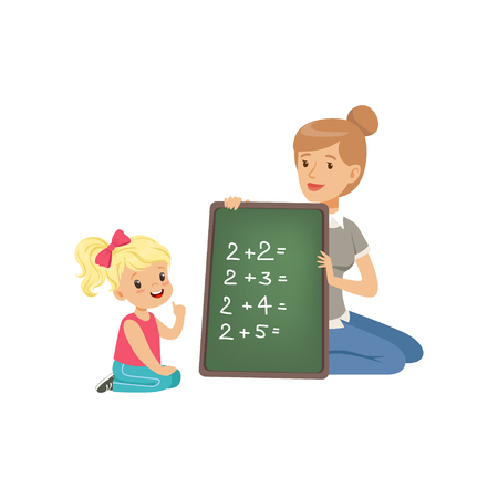 Cute little girl sitting on the floor and writing mathematical examples, teacher holding small blackboard and helping her, math class in primary school, preschool education vector Illustration Ilustracja