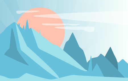 Winter natural landscape, scene of nature with mountains and sun vector Illustration