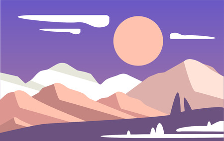 Beautiful natural landscape, scene of nature with mountains and sun vector Illustration