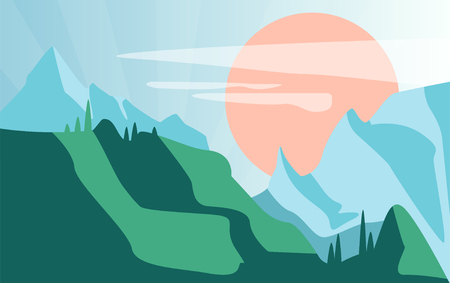 Beautiful summer natural landscape, scene of nature with green mountains and sun vector Illustration Illustration