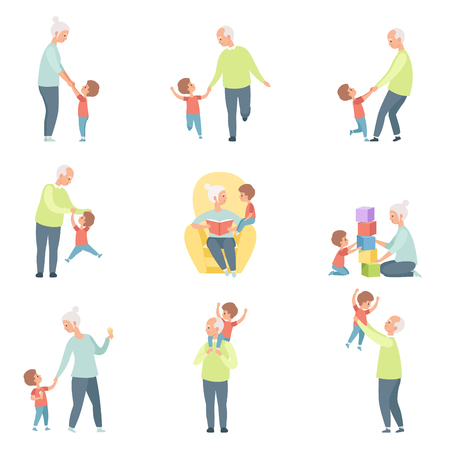 Grandpa and grandma playing, walking and having fun with their grandson set vector Illustrations on a white background