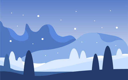 Beautiful winter natural landscape, scene of nature with mountains at night vector Illustration