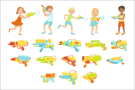 Kids Playing With Water Pistols And Assortment Of Guns