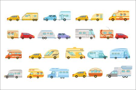 Bunter Minivan mit Anhänger-Satz von Symbolen Vektorgrafik