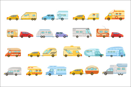 Colorful Minivan With Trailer Set Of Icons