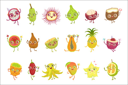 Tropical Fruits Girly Cartoon Characters Set Stock Vector - 102910322