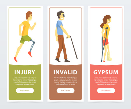 Disabled people banners set, man with prosthetic leg, blind man, woman on crutches with broken leg, injury, invalid, gypsum flat vector ilustrations, element for website or mobile app