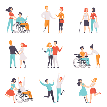 Disabled people having a good time with their friends set, handicapped person enjoying full life vector Illustrations on a white background