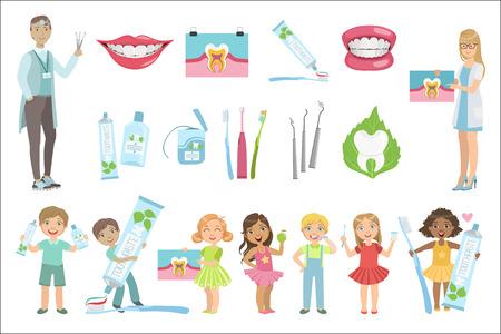 Zahnärzte und Zahnpflege Poster Vektorgrafik