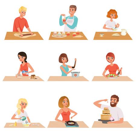 Conjunto de cocina de hombre y mujer joven, gente en ropa casual preparando comida saludable en vector de cocina ilustraciones sobre un fondo blanco