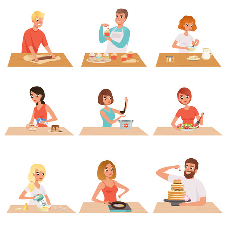 Young man and woman cooking set, people in casual clothing preparing healthy meal in kitchen vector Illustrations on a white background Çizim