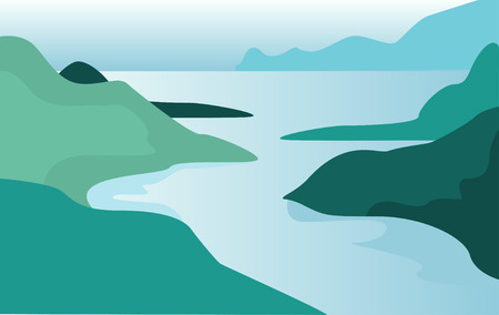 Beautiful summer natural landscape, scene of nature with mountains and river vector Illustration