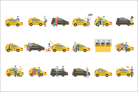 Taxi, Drivers And Their Clients Set Illustration