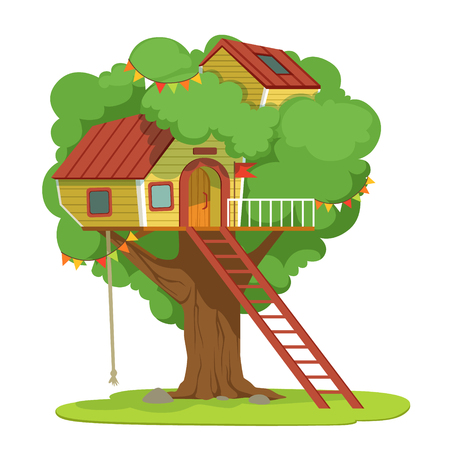House with ladder on green tree vector Illustration on a white background Illustration