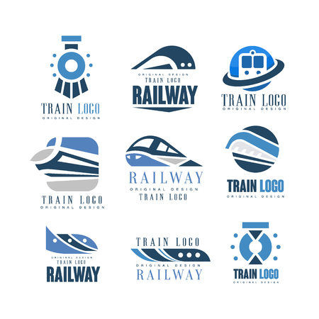 Train original design set, modern railway railroad transport emblem badge vector Illustrations Illustration
