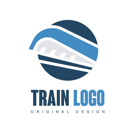 Train  original design, railway railroad transport emblem badge vector Illustration