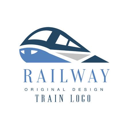 Railway train  original design, railroad transport emblem badge vector Illustration