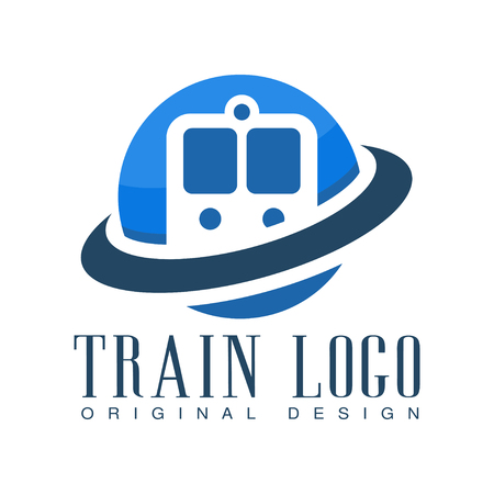 Train  original design, blue railway transport badge vector Illustration