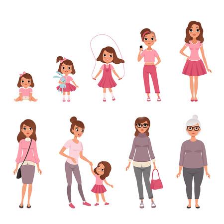 Cycles de vie de la femme, étapes de la croissance de bébé à femme vector Illustration Vecteurs