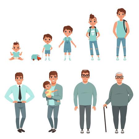 Ciclos de vida del hombre, etapas de crecimiento desde el bebé hasta el hombre vector ilustración