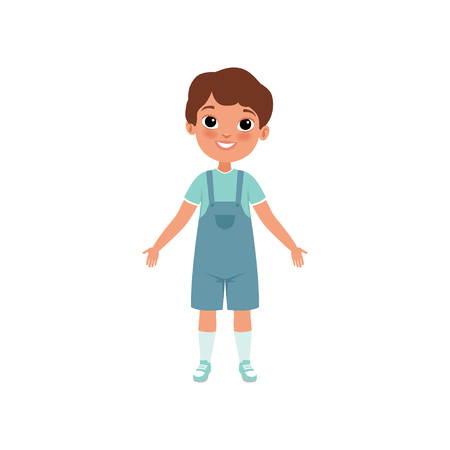 Cute preschooler boy, stage of growing up concept vector Illustration on a white background 向量圖像