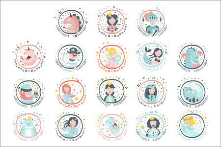 Fairy Tale Heroes Girly Stickers In Round Frames