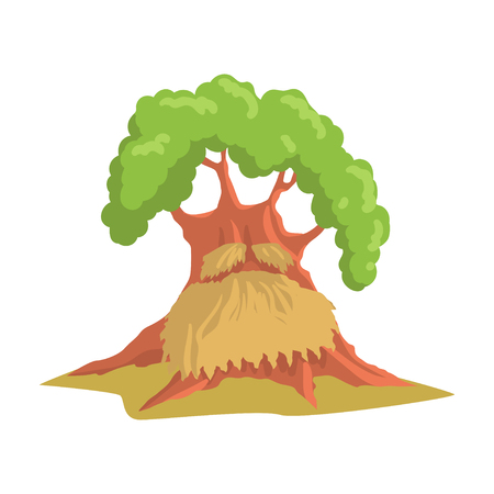 Giant humanized oak with long beard. Old green forest tree. Natural landscape element. Flat vector design