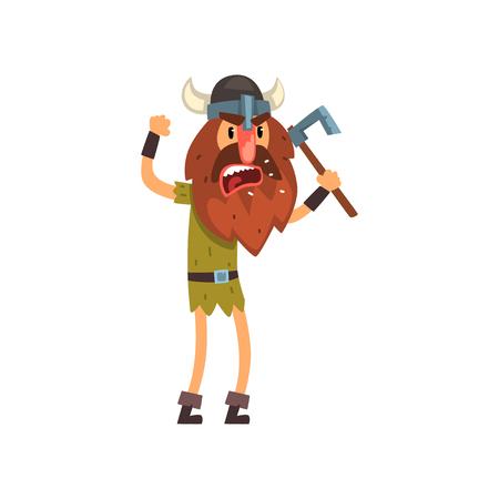 Furious viking cartoon character with axe vector Illustration Çizim