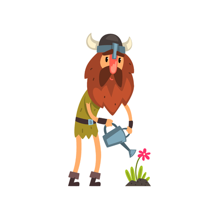Viking watering flowers with watering can, comic medieval cartoon character vector Illustration