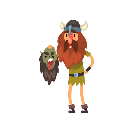 Viking holding head of his dead enemy in his hands, medieval cartoon character vector Illustration Illustration