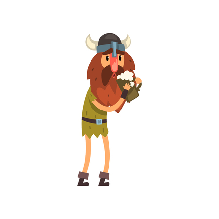 Viking cartoon character holding tankard of ale vector Illustration Çizim