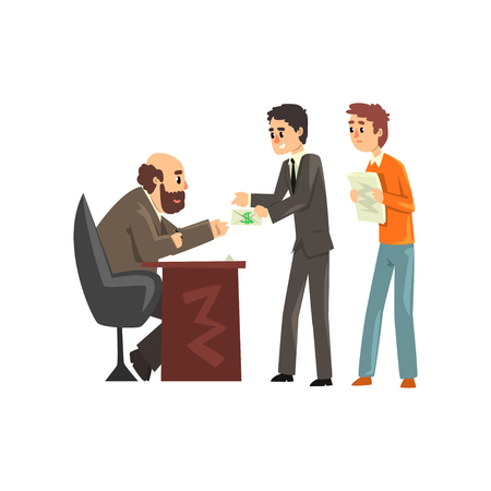 Two men giving money to get permission, official taking a bribe, corruption and bribery concept vector Illustration Illusztráció