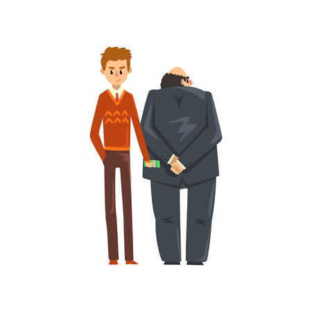 Businessman giving bribe money, corruption and bribery concept vector Illustration Illusztráció