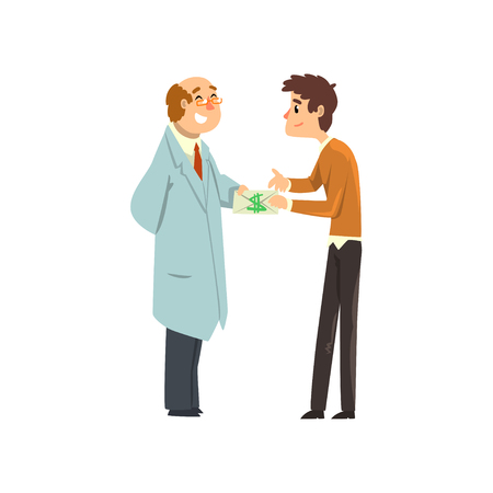 Man passing cash money to corrupted official, corruption and bribery concept vector Illustration