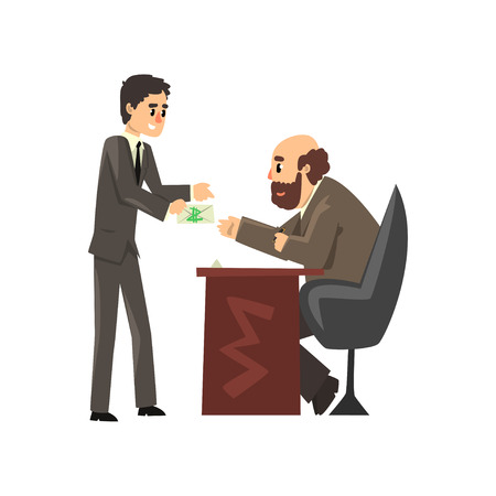 Man in business suit giving bribe money, corruption and bribery concept vector Illustration