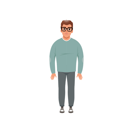 Middle aged man in casual clothes, stage of growing up concept vector Illustration isolated on a white background Иллюстрация