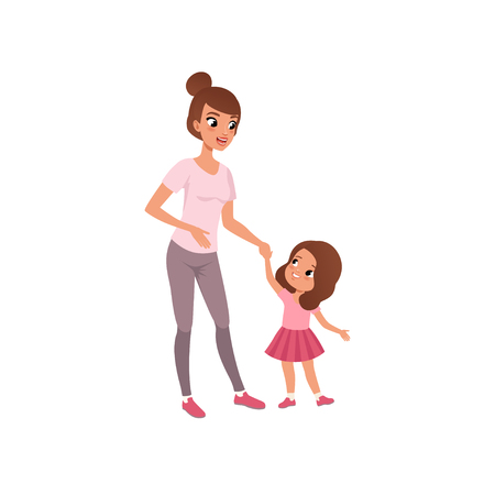 Beautiful young mother and her little daughter, stage of growing up concept vector Illustration