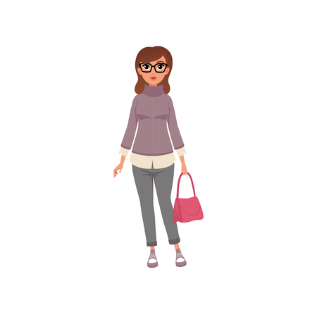 Middle aged woman in casual clothes, stage of growing up concept vector Illustration on a white background
