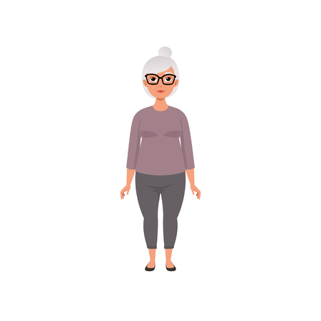 Senior woman, grandmother, stage of growing up concept vector Illustration on a white background